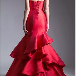 Andrea & Leo Couture Dresses - Strapless red prom dress